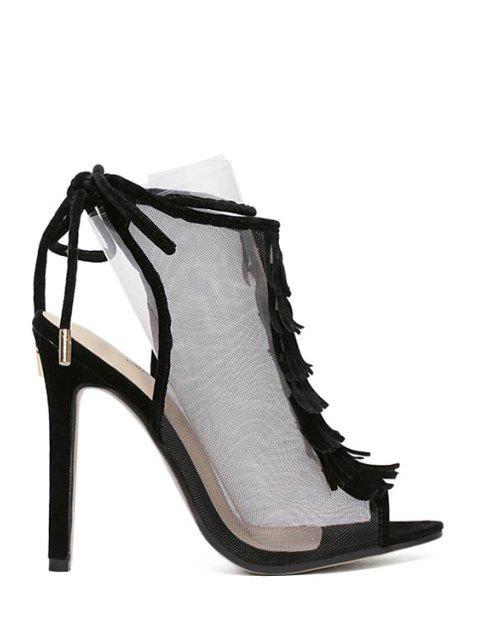 outfit Peep Toe Gauze Fringe Sandals - BLACK 36 Mobile