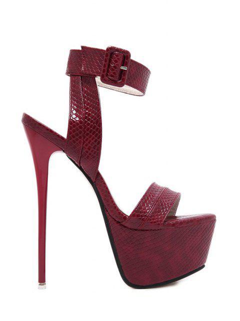 women Snake Print Platform Ankle Strap Sandals -   Mobile