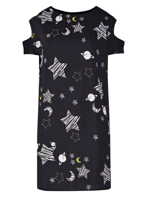 sale Star Print Hollow Short Sleeve Dress - BLACK L Mobile