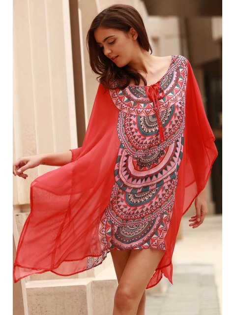 Imprimé géométrique Scoop Neck Bat-Wing manches Cover Up - Orange XL Mobile