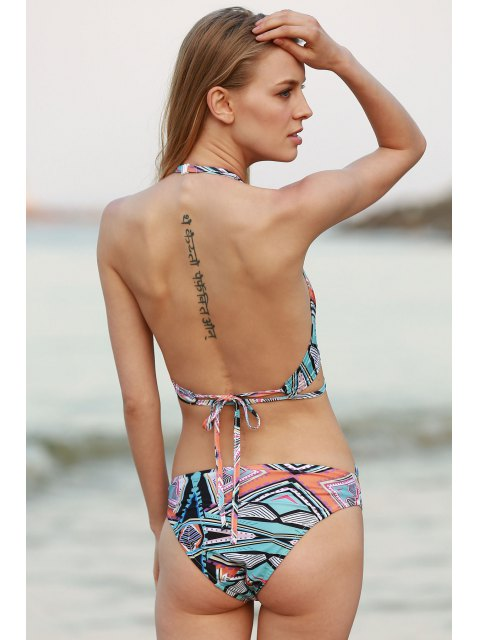 affordable Halter Neck Printed Bikini Set - COLORMIX M Mobile