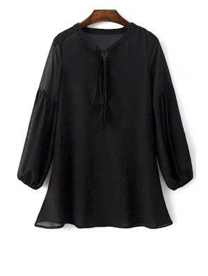 See-Through Robe En Mousseline De Soie Noire - Noir L