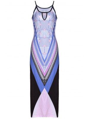 Bohemian Print Cami Slit Maxi Dress - Purple S