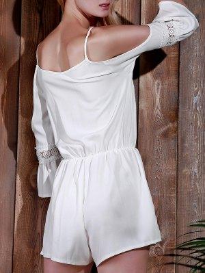 Cold Shoulder Cami Beach Romper - White S