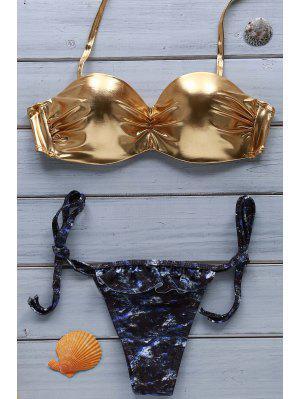 Traje De Bikini Dorado De Halter  - Dorado S