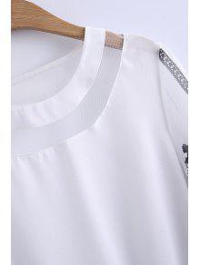 Cuello Manga Blusa De La Empalmado 4 M Redondo Blanco 3 Encaje q1YxAwpt