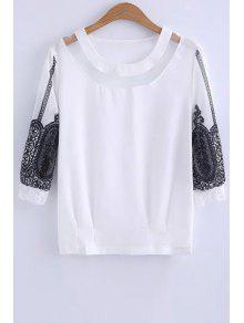 Lace Spliced Round Collar 3/4 Sleeve Blouse - White M
