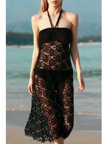 Solid Color Lace Cover Up Skirt - Black M