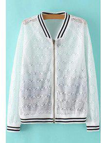 Lace Spliced Stand Collar Long Sleeve Printed Jacket - White S
