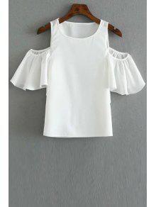 Solid Color Round Collar Cold Shoulder T-Shirt - White L