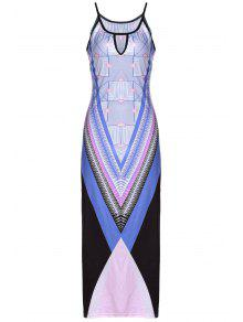 Bohemian Print Cami Slit Maxi Dress - Purple L