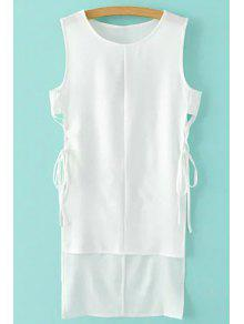 High-Low Hem Round Collar Solid Color Dress - White Xl