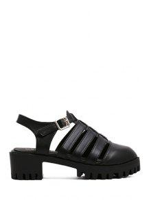 Buy Closed Toe Solid Color Chunky Heel Sandals - BLACK 39