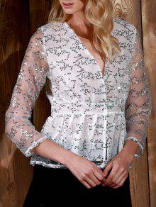 Sequins Plunging Neck Long Sleeve Blouse - White Xl