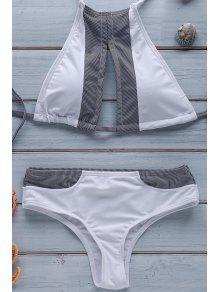 Stripe Spliced Halter Bikini Set - White L