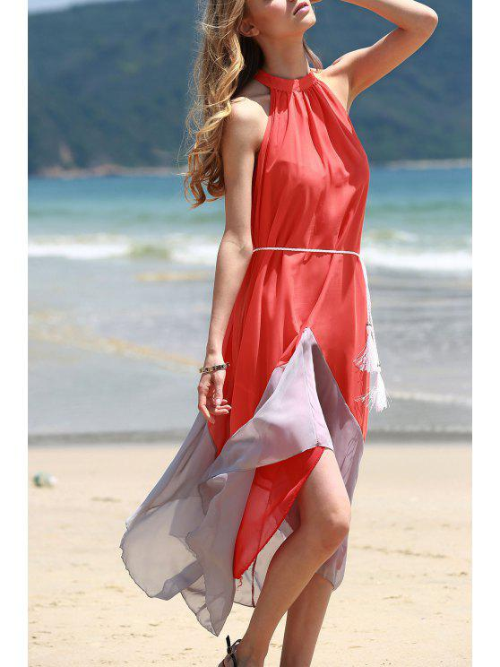 shops Mock Neck Sleeveless Color Block Maxi Dress - ORANGEPINK S