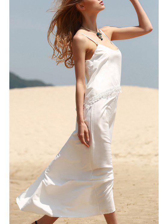 affordable White Tassels Cami Maxi Dress - WHITE M