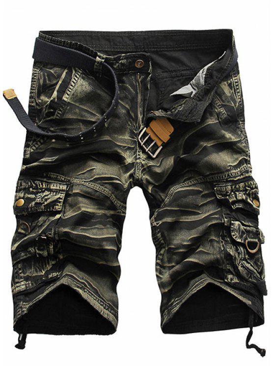 Estilo militar de la pierna recta Multi-bolsillo con cremallera Loose Fit Camo Pantalones cortos para los hombres - Ejercito Verde 29