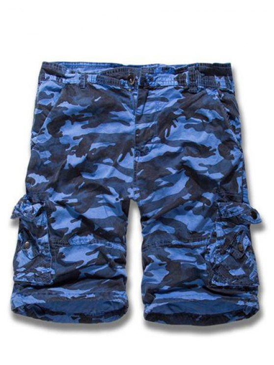 Camouflage Straight Leg Multi-Pocket Loose Fit Zipper Fly Cargo Shorts pour hommes - Bleu 31