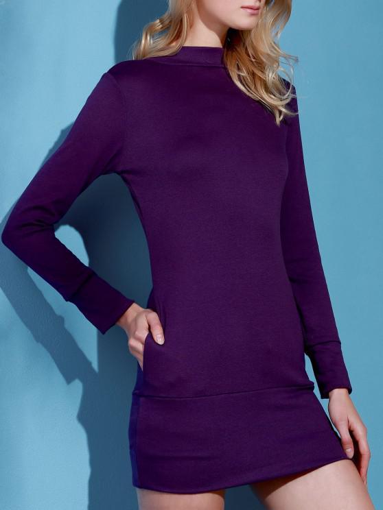 sale Long Sleeve High Neck Mini Tight Dress - PURPLE S