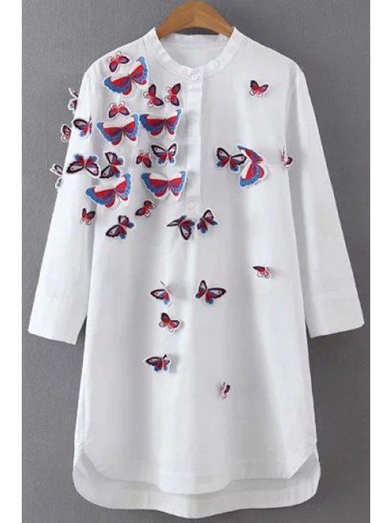 buy Stereo Embroidered Butterflies White Dress - WHITE M