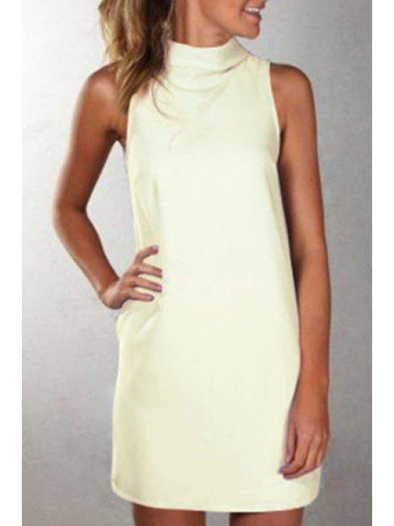 hot Solid Color Turtle Neck Sleeveless Dress - BEIGE M