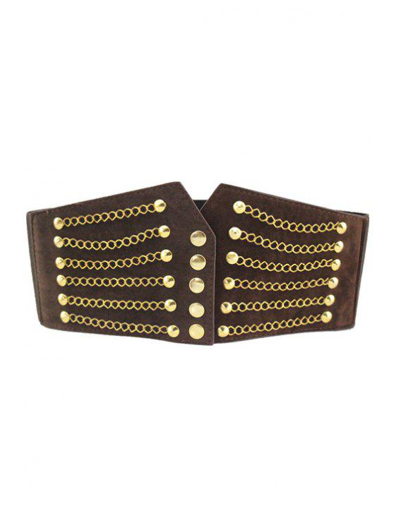 fashion Rivet Embellished Elastic Waistband - COFFEE
