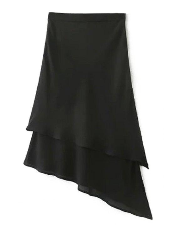 Color sólido dobladillo irregular de alta gasa de la cintura de la falda - Negro L