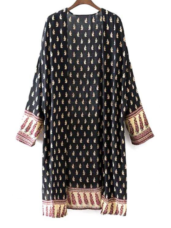 outfits Vintage Printed Collarless Long Sleeve Blouse - BLACK L