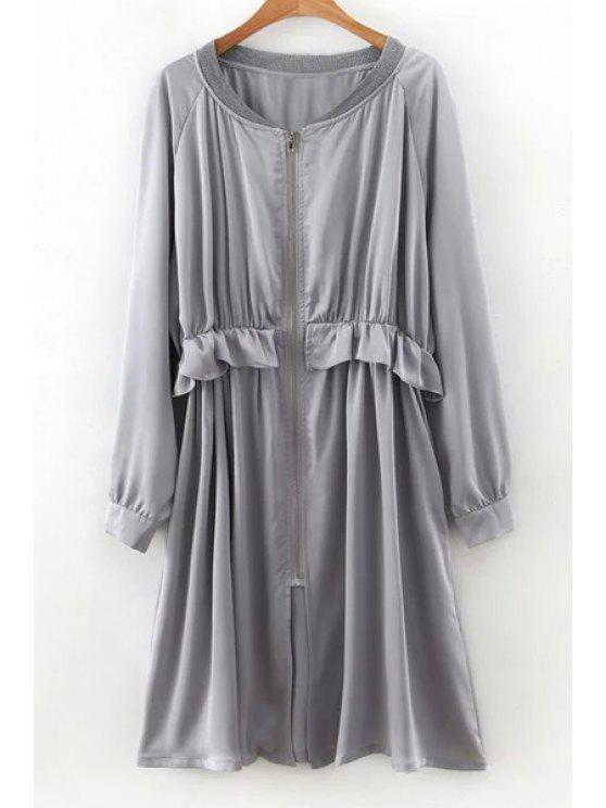 lady Flounced Zip-Up Long Sleeve Trench Coat - GRAY M