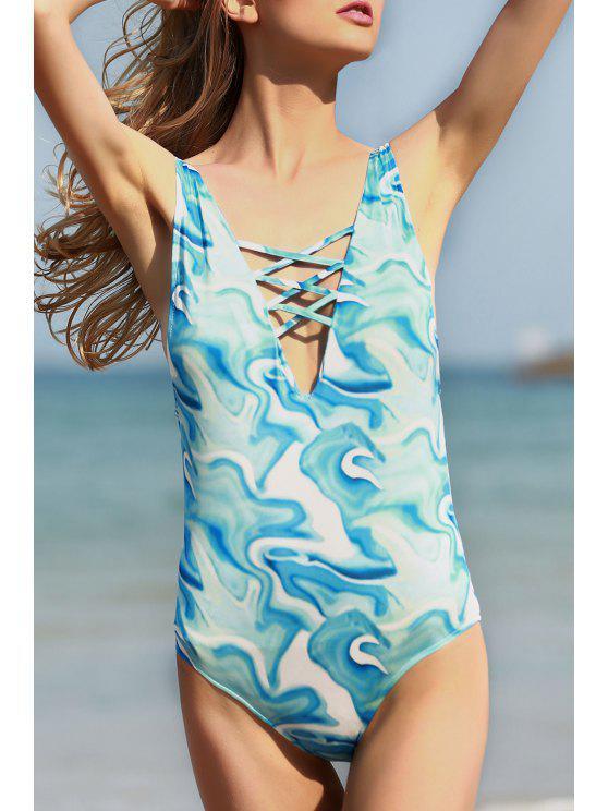 womens Open Back Plunging Neck One-Piece Swimwear - WATER BLUE L