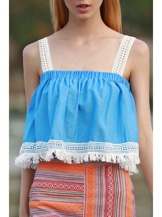 lady Tassels Blue Sleeveless Crop Top - AZURE M
