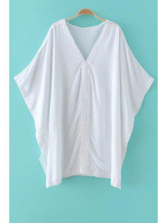 trendy Solid Color Lace Splicing Plunging Neck Bat-Wing Sleeve Cover Up - WHITE ONE SIZE(FIT SIZE XS TO M)