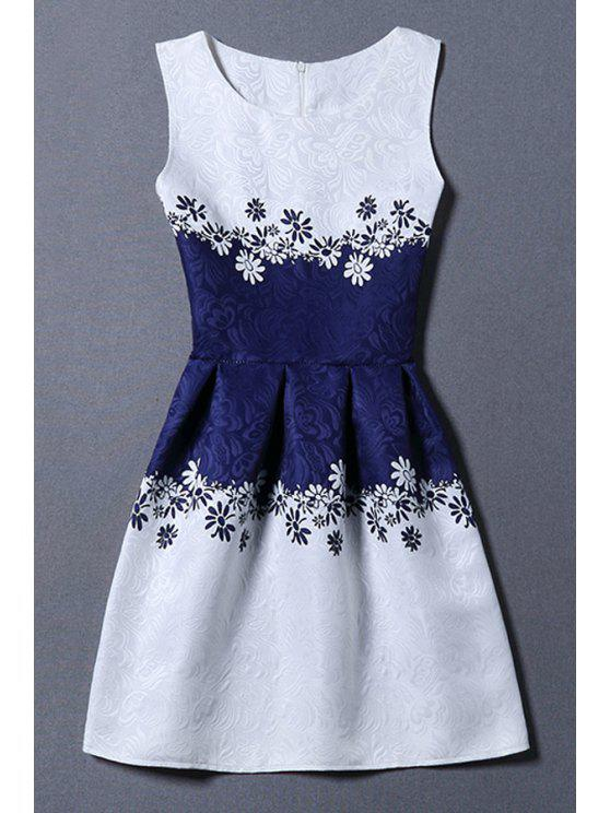 outfit Jacquard Color Block Tank Dress - BLUE AND WHITE M