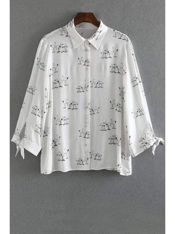 new Swan Print Button Down Shirt - WHITE S