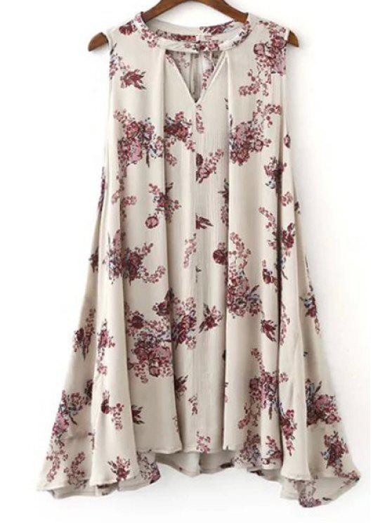 sale Flared Sleeveless Bohemian Dress - SHALLOW PINK S