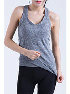 Racerback Fitted Quick Dry Tank Top - Gray M