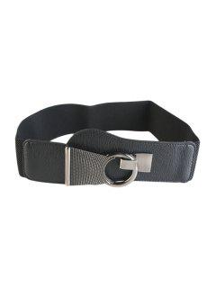 Hook Buckle Elastic Waistband - Black