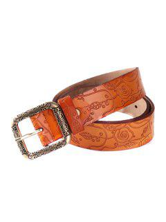 Carving Pin Buckle Belt - Earthy