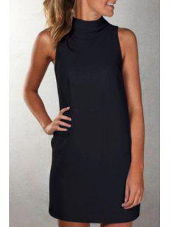 Solid Color Turtle Neck Sleeveless Dress - Black L