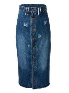 Retro Single-breasted Taille Haute Jupe En Denim - Bleu Foncé M