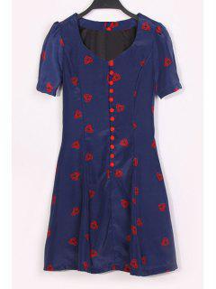 Single-Breasted Heart Print Jewel Neck Short Sleeve Dress - Deep Blue L
