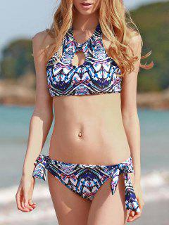 Ethnic Style High Neck Printed Backless Bathing Suit For Women - M