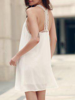 Graceful V Neck Sleeveless Racerback White Laciness Dress For Women - White S