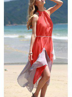 Mock Neck Sleeveless Color Block Maxi Dress - Orangepink Xl