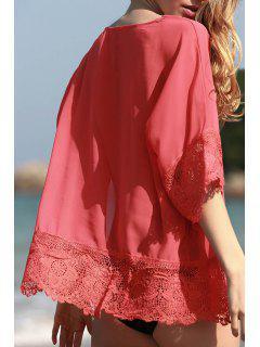 Kimono Sleeve Combined Lace Blouse - Orangepink L