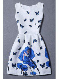 Vestido Sin Manga Con Estampado De Rosa Y Mariposa - Blanco Xl