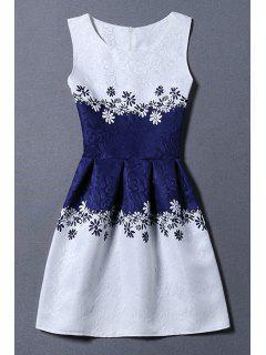 Vestido De Chaleco De Jacquard Con Color Bloque - Azul Y Blanco Xl