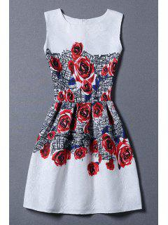 Red Rose Print Sundress - White Xl