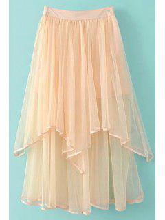 Irregular Hem Layered Tulle Skirt - Light Pink L